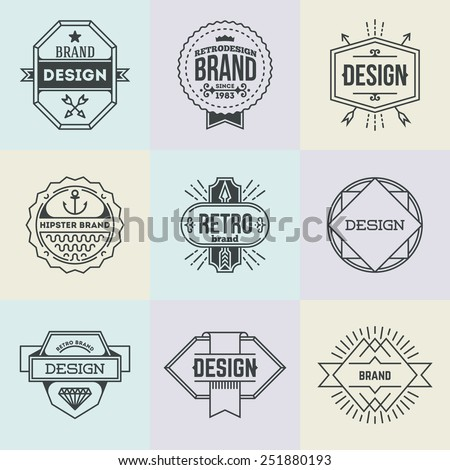 Assorted retro design insignias logotypes set 13. Vector vintage elements. - stock vector