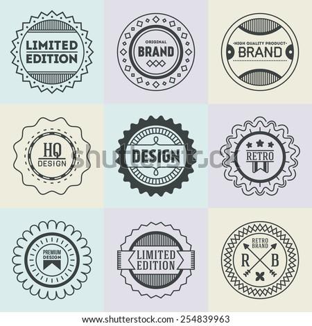 Assorted retro design insignias logotypes set 17. Vector vintage elements. - stock vector