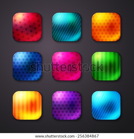 Assorted Shiny Colored Square Buttons with Seamless Stars and Lines Pattern Designs on Gray Background. Vector illustration. - stock vector