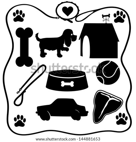 Assorted silhouettes of the things dogs love - a bone,food,steak,cars etc - stock vector