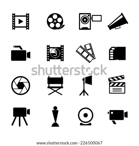 Assorted Simple Black and White Video Icon Graphic Designs. - stock vector