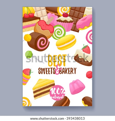 Assorted sweets colorful background. Lollipops, cake, macarons, chocolate bar, candies and donut on shine background. Poster cover design. - stock vector