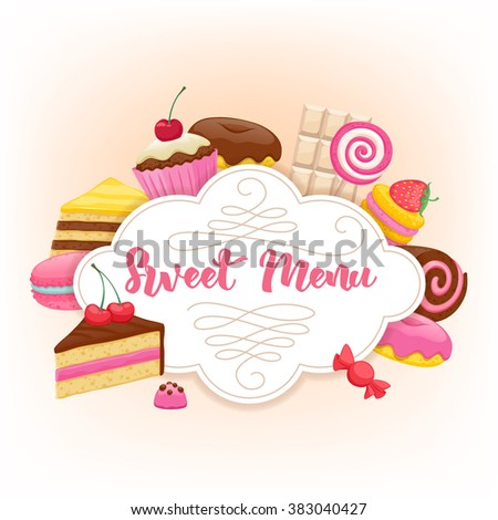 Assorted sweets colorful background with chocolate splash drop blot. Lollipops, cake, macarons, chocolate bar, candies and donut on shine background. Sweet shop. Sweet menu design. - stock vector