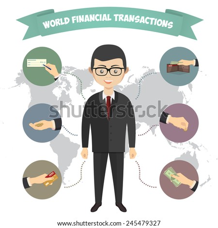 Assorted Vector Mode of Payment Types Drawings Isolated on Background. Infographics, a businessman engaged in financial transactions around the world - stock vector