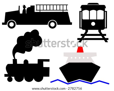 assorted vehicles symbols fire truck ocean liner steam train and tram - stock vector