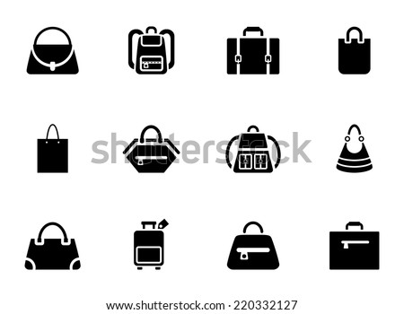 Assortment of Black Baggage Icons on White Background - stock vector