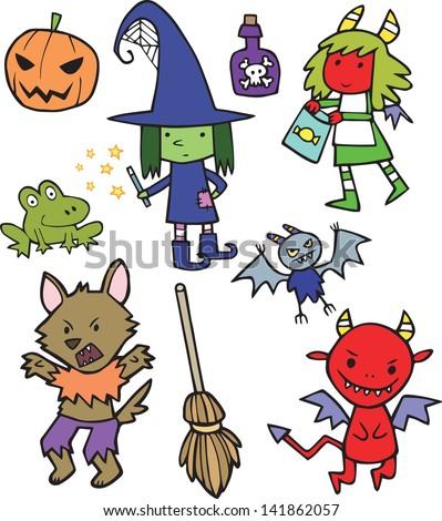 Assortment of Cute Halloween Cartoon Characters - stock vector