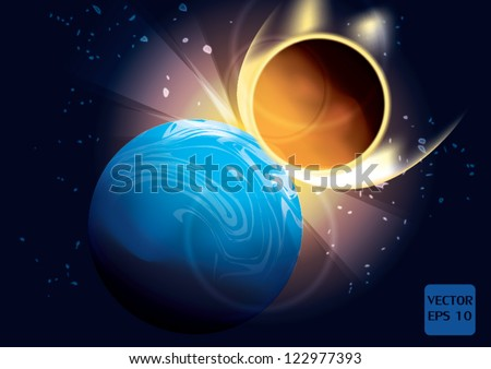 Asteroid and Earth Meteor impact - stock vector