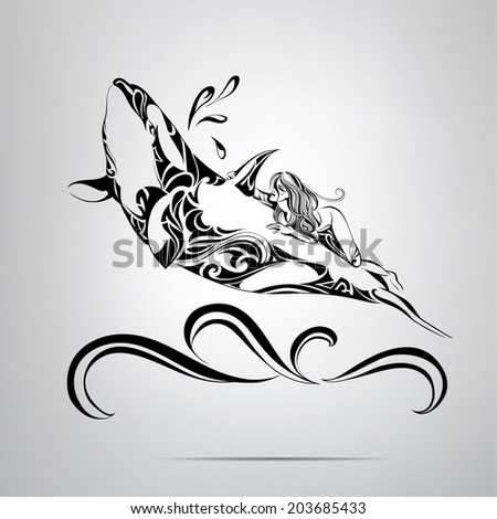Astride a killer whale. Vector illustration - stock vector