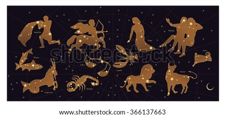 Astrological constellations. Horoscope with Zodiac signs - stock vector
