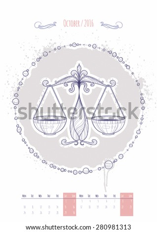 Astrological sign of the zodiac. Icon Libra drawn in a linear style. Decoration in vintage style. Vector illustration. - stock vector