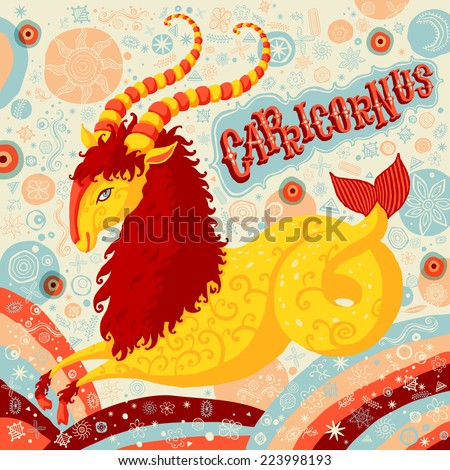 Astrological zodiac sign Capricorn. Part of a set of horoscope signs. Vector illustration. - stock vector