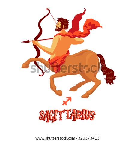 Astrological zodiac sign Sagittarius. Part of a set of horoscope signs. Isolated vector illustration on white background. - stock vector