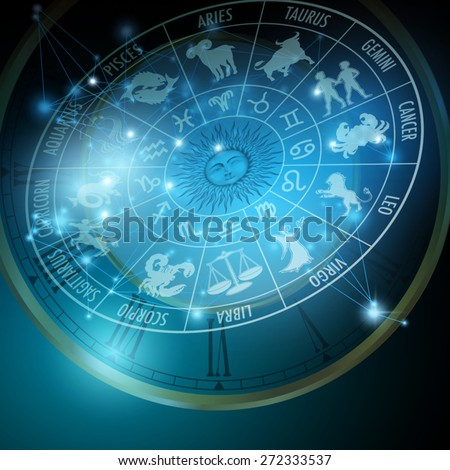 Astrology concept. Horoscope with Zodiac signs. Vector Illustration - stock vector