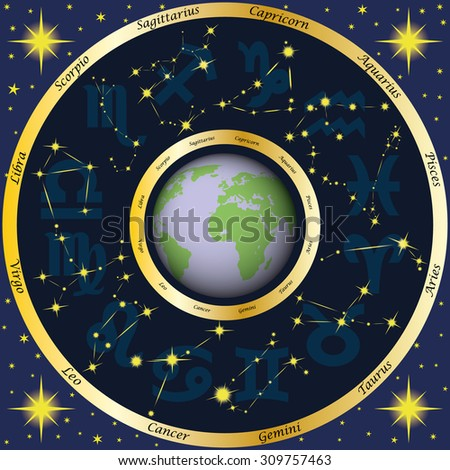 Astrology. Earth, zodiac signs and zodiac constellations. Horoscope. Magic. - stock vector