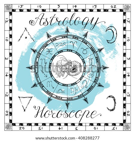 Astrology set for zodiac sign Cancer or crab. Line art vector illustration of engraved horoscope symbol. Doodle mystic drawing and hand drawn sketch with calligraphic lettering - stock vector