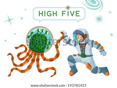 Astronaut And Alien Making High Five - stock vector