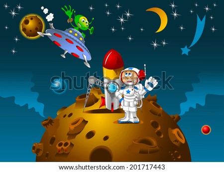 astronaut and alien met on a distant planet, vector - stock vector