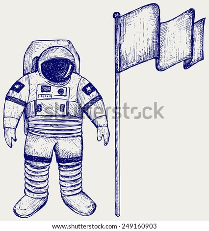 Astronaut and flag. Doodle style - stock vector
