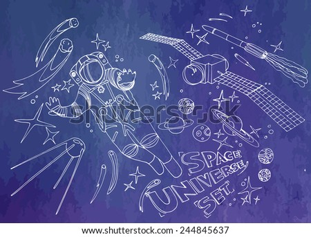 Astronaut and satellites. Space vector set - stock vector