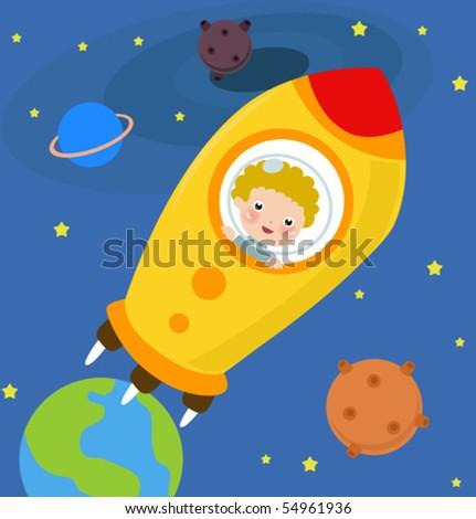 Astronaut Boy - stock vector