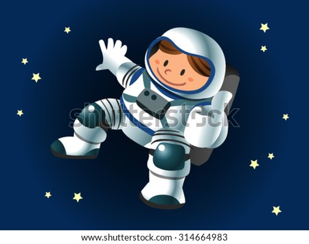 astronaut character floating on space - stock vector