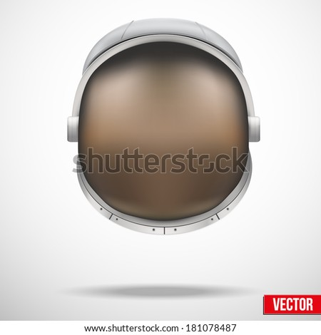 Astronaut helmet with big glass and reflection. Astronaut costume, astronaut outfit, astronaut suit, helmet, nasa costume, nasa helmet, costumes, space helmet, space suit, spaceman helmet. - stock vector