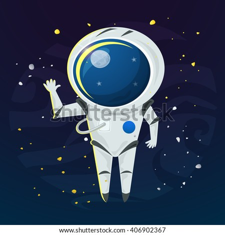 Astronaut in a spacesuit in the open space, vector illustration - stock vector