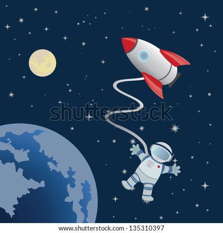 Astronaut in space. Vector - stock vector