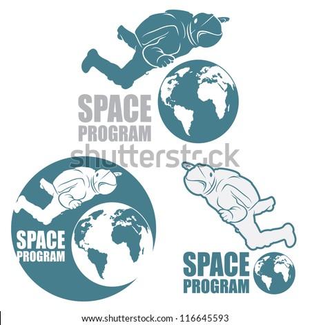 Astronaut sign - vector symbol - stock vector