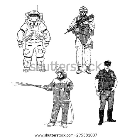 Astronaut, soldier, fireman and policeman hand drawn vector illustrations set isolated on white background - stock vector