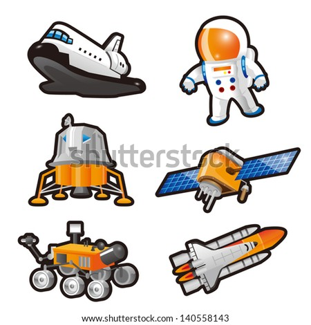 Astronaut,Space Shuttle,Landing craft,Lunar lander and Satellite - stock vector