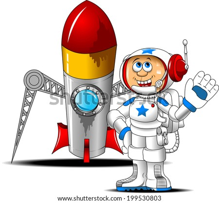 astronaut stands near a rocket and waving goodbye - stock vector
