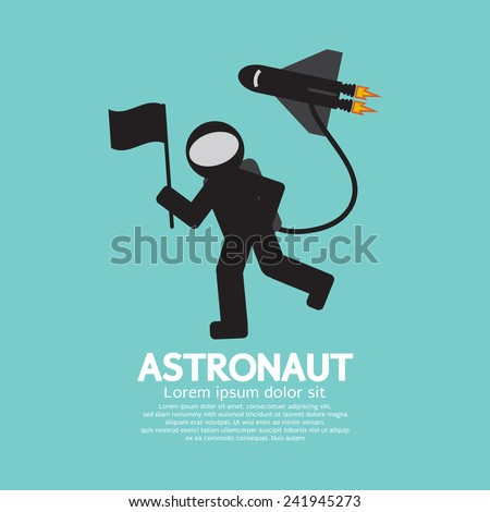 Astronaut With Spaceship Graphic Vector Illustration - stock vector