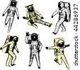 Astronauts - stock vector