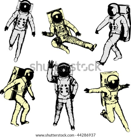 Astronauts - stock vector