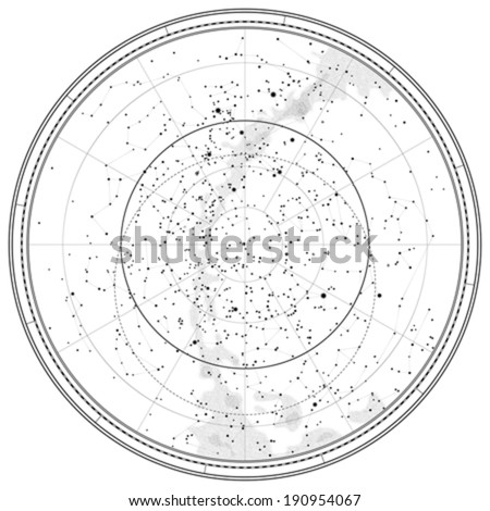Astronomical Celestial Map of Northern Hemisphere (detailed outline Chart EPS-10) - stock vector