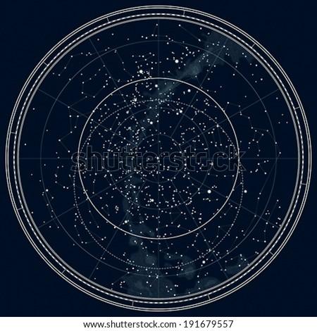 Astronomical Celestial Map of The Northern Hemisphere. Detailed Chart. Deep Night Black Ink version. - stock vector