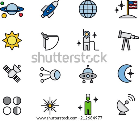 Astronomy, Astrology & Space icons - stock vector