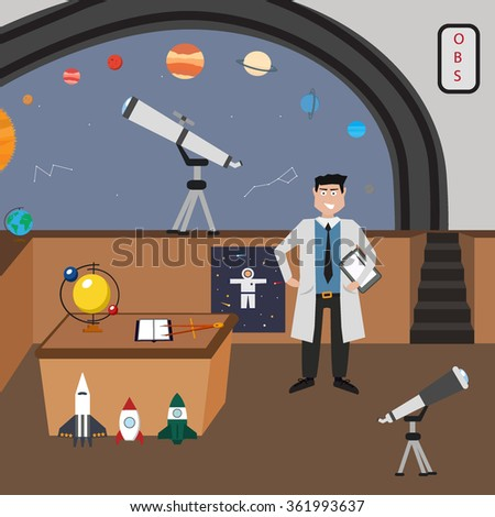 Astronomy vector icon set. A collection of space themed symbols including a planet, spaceman, astronomer, telescope, rocket and solar system. Vector eps10 illustration. - stock vector