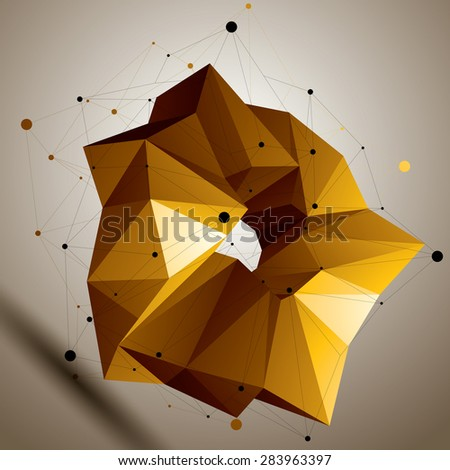 Asymmetric 3D abstract bright object, colorful geometric spatial form. Render and modeling. - stock vector