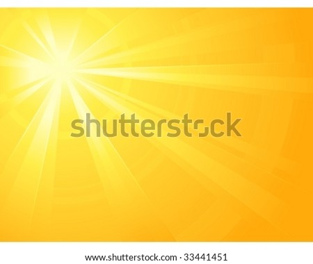 Asymmetric yellow orange light burst with the centre in the upper left third. All rays controlled by two linear gradient. Radial gradient for background, outer ring. Grouped, layered & global colors. - stock vector