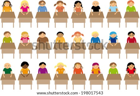 At school - stock vector