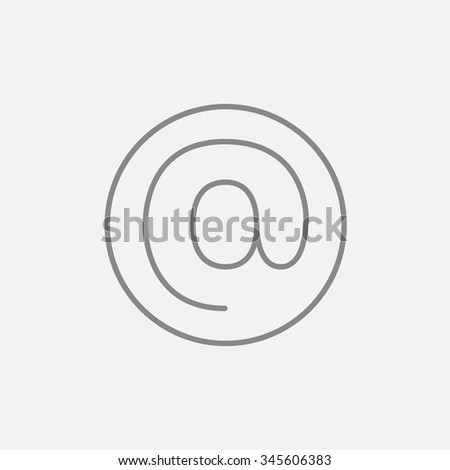 At sign line icon for web, mobile and infographics. Vector dark grey icon isolated on light grey background. - stock vector