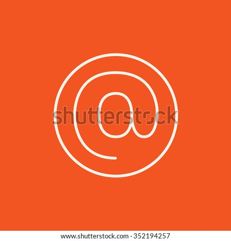 At sign line icon for web, mobile and infographics. Vector white icon isolated on red background. - stock vector