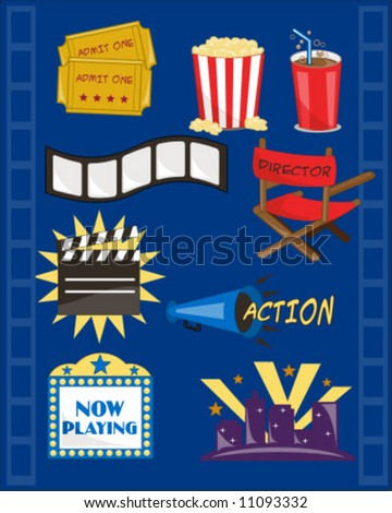 at the movies graphic collection - stock vector