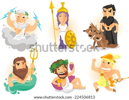 Athenas, Zeus, Hades, Poseidon, Hermes, Bacchus, Dionysus, cerberus, Posidon, greek gods vector illustration. - stock vector