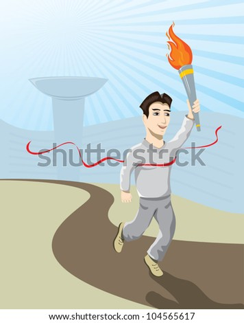 athlete carrying the flame - stock vector