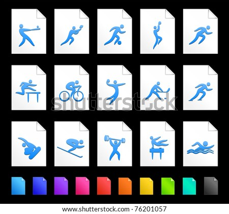 Athlete Icon on Document Icon Collection Original Illustration - stock vector