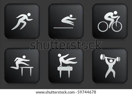 Athlete Icons on Square Black Button Collection Original Illustration - stock vector